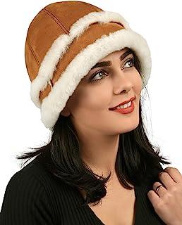 Zavelio 女士羊皮冬季毛皮渔夫无檐小便帽