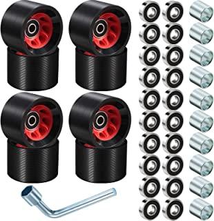 8 件轮滑轮四轮滑轮替换户外四轮滑轮带滑轮 ABEC-9 608RS 轴承(黑色,58 x 39 毫米,95A)