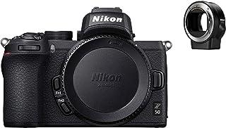 Nikon 尼康 Z50 + FTZ 无反相机套件(209 点混合 AF,高速图像处理,4K UHD 电影,高分辨率 LCD 显示器)VOA050K003