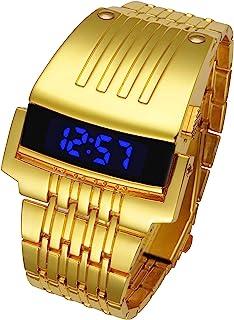 DDL Watch 男士时装设计时尚手链手表蓝色 LED 金属金