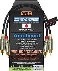 0.5 英尺 RCA 线对 - 采用 Canare L-4E6S、Star Quad、音频互连电缆和安酚 ACPR 金色 RCA 连接器 - 定向设计 - 定制 WORLDS *好的电缆