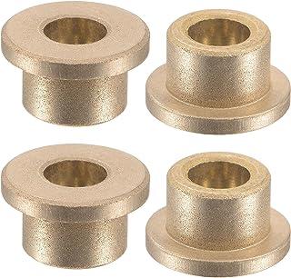 uxcell 法兰套筒轴承 6mm 孔径 10mm 外径 8mm 长 14mm 法兰直径 2mm 法兰厚度烧结青铜自润滑衬套 4 件