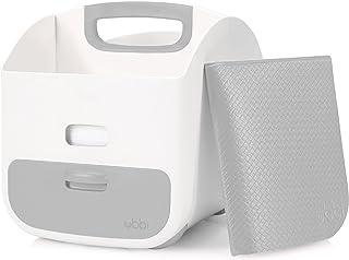 Ubbi 便携式尿布更换台 + 尿布收纳盒,带更换垫子 + 婴儿湿巾分配器监控:轻松存储婴儿尿布,湿巾 + 婴儿配件 灰色 均码