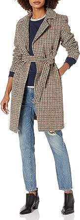 Cole Haan 女士犬牙花纹双排扣羊毛大衣
