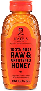 Nature Nate's 100% Pure Raw & Unfiltered Honey; 16-oz. Squeeze Bottle; Certified Gluten Free and OU Kosher Certified; Enjo...