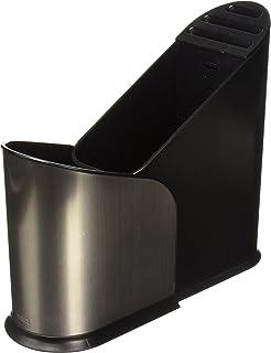 Umbra Furlo 黑色不锈钢可扩展餐具架 - 多功能厨房厨房收纳盒,带隔层和塑料篮 - 非常适合将刀具放在厨房柜子里。