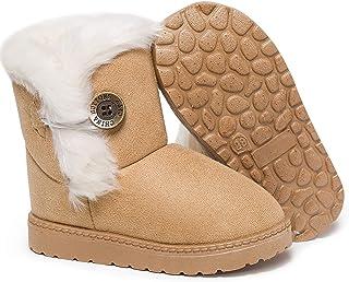 HLMBB 婴儿靴婴儿幼儿靴女孩雪男孩女孩冬季男孩12-18个月6-12 尺码 4 黑色胖婴儿毛皮 3