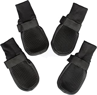狗鞋靴带网眼防滑橡胶鞋底,保护硬木地板,防止刮伤舔 L 码 黑色