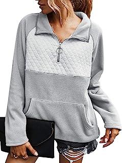 Miessial 女式休闲冬季毛绒套头运动衫时尚印花羊毛纽扣运动衫上衣