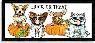 Stupell Industries Trick or Treat 节日宠物狗万圣节服装,由 Sherri Buck Baldwin 黑色带框墙艺术,25.4 x 60.96 厘米,橙色