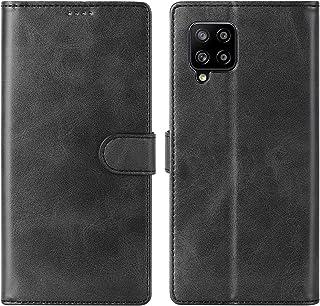 Cresee 兼容三星 Galaxy A42 5G 手机壳,PU 皮革钱包翻盖保护套 [3 个卡槽 1 个钱袋] [磁扣] [支架] 对开式手机壳 - 黑色