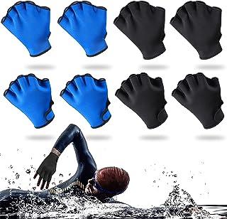 Skylety 4 双游泳手套游泳训练手套氯丁橡胶手套网状游泳手套帮助上身抵抗男女潜水 冲浪泳池锻炼(黑色、蓝色、L)