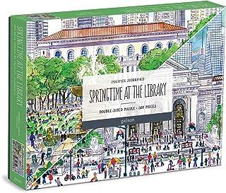 "Galison Michael Storrings 春季图书馆双面拼图,500件,20"" x 20""(约50.8 x 50.8厘米)–双面拼图,带有惊人的艺术品–厚而结实的拼图,挑战家庭活动"