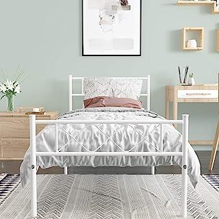 SimLife 金属厚底床架,带两个床头板床垫底座/板支撑/无需弹簧,白色双人床