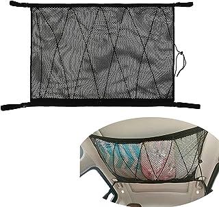 汽车天花板存储网袋,78.74 厘米 x 53.34 厘米双层货物网袋可调节 SUV 车顶收纳箱汽车内饰配件,用于帐篷推床饰品和装饰物