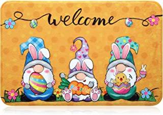Happy Easter 门垫 兔子小矮人图案 地板垫 防滑可水洗浴室地毯假日欢迎垫 复活节室内室外装饰 23.6 x 15.7 英寸