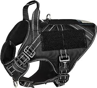 WINSEE 狗狗战术胸背带,适用于大型犬,工作犬 MOLLE 背心,带手柄和环板,无拉前夹可调节反光训练宠物胸背带,适合远足狩猎