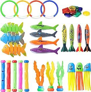 潜水玩具,儿童游泳池潜水玩具,36 件游泳池玩具,儿童泳池玩具:泳池环、潜水棒、鲨鱼鱼雷泳池玩具、泳池宝石礼物男孩和女孩