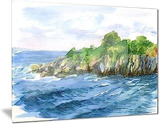 绿珠和海 - 水彩海景金属墙艺术 - MT7472-48x28-4 片 28x12 MT7472-28-12