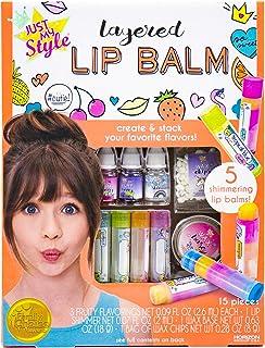 Horizon Group USA出品Just My Style Layered Lip Balm,DIY 5 种闪光唇膏,混合水果味,打造*的唇膏,草莓,热带水果和浆果味