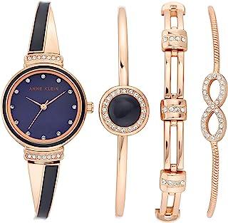 Anne Klein 安妮克莱因 女式施华洛世奇水晶点缀手表和手镯套装 AK/3578