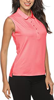 MoFiz 女式无袖高尔夫 Polo 衫运动锻炼户外 T 恤干爽网球背心上衣