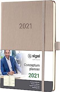 SIGEL C2160 周记本 2021,约A5,精装,灰褐色 - 概念