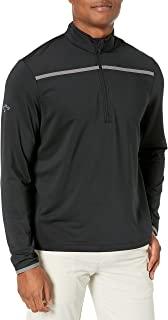 Callaway 男士高尔夫胸条纹长袖 1/4 拉链半高呢套头衫