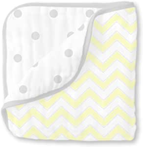 swaddledesigns 4-layer cuddle and Dream 棉布 luxe 毛毯 Pastel Yellow