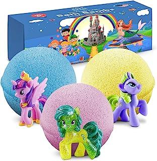 儿童洗澡炸弹,带有玩具,3 个**女孩洗浴球 – 适合青少年、儿童、婴儿的礼品套装