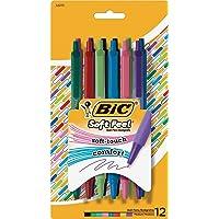 BIC Soft Feel 可伸缩时尚圆珠笔,中号笔尖(1.0 毫米),多种颜色,12 支装