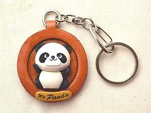 熊猫动物 3D 皮革板钥匙链 VANCA CRAFT 收藏钥匙圈吊坠 日本制造