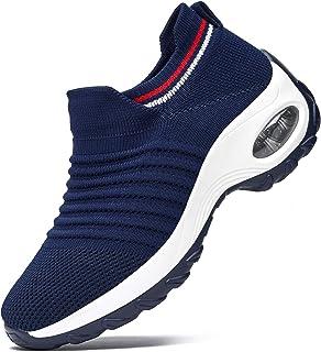 RDTRAVEL 女式步行鞋网眼透气袜运动鞋轻便舒适一脚蹬时尚运动鞋 坡跟厚底乐福鞋