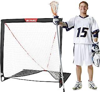 NET PLAYZ 4 x 4 x 4 英尺(约 10.1 x 10.1 x 10.1 厘米)长曲棍球球门快速安装,玻璃纤维框架,轻便可折叠,便携包
