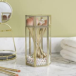 优雅化妆刷架,透明玻璃化妆品收纳架,金色化妆刷存储带盖子,免费珍珠