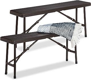 Relaxdays 啤酒长凳 2 件套,可折叠,适用于露台和花园,木质外观,塑料露营长凳 高宽深:42x100x25 厘米,棕色