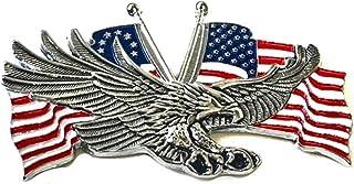 7.2 厘米 X 4.4 厘米 Eagle 美国金属*章哈雷运动家 Sissy Bar 靠背 戴维森 Bobber Chopper 徽标贴纸 3M 贴花 摩托车摩托车青灰色 铬红色 白色蓝色旗帜 美国