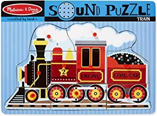 Melissa & Doug 火车响声拼图-木制嵌板拼图,带木钉,带音效(9块)