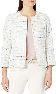 Kasper 女式新颖粗花呢夹克,镶有宝石领口和七分袖