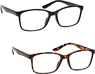 The Reading Glasses Company 黑色和棕色玳瑁阅读器超值 2 件套 大号男士 RR83-12 Optical Power +1.00