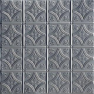 Shanko SK209-laq-24X24-D-12 小尖头印花金属嵌入式锡天花板瓷砖(48 平方英尺),银色