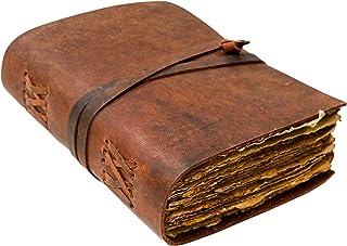 皮革杂志 - 复古皮革杂志 - 皮革笔记本 - 手工仿古甲板边缘纸 - 阴影书 - 皮革素描本 - 男士女士皮革装订日记本 - 12.7 x 17.7 cm 棕色