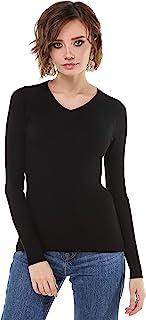 Ms. Anette 女式羊绒 V 领毛衣长袖套头衫