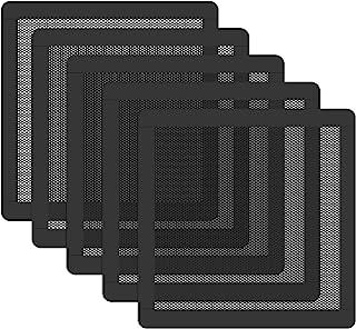 120 毫米风扇防尘过滤器网状磁性框架 PVC 电脑外壳风扇防尘过滤器盖烤架黑色 5 件装