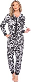 Ekouaer 连体新颖睡衣无脚连体连帽睡衣长袖连体服,带口袋,豹纹小号