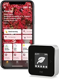Eve 室内气候和空气质量监控器,用于控制空气质量(VOC),温度和湿度; 电子墨水显示屏,无需桥接,BLE(新版,Apple HomeKit)