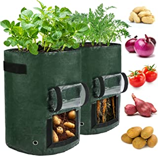 LotFancy 土豆生长袋,2 件装,10 加仑花园植物容器,带透明翻盖窗,手柄,PE 花盆,适用于蔬菜、胡萝卜、番茄、洋葱、深*