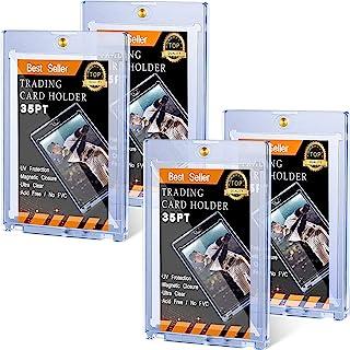 Zonon 磁性卡片夹 交易卡夹 35 PT 棒球卡保护套 硬质防水透明卡片保护套 适用于运动卡 标准卡 工作卡 交易卡