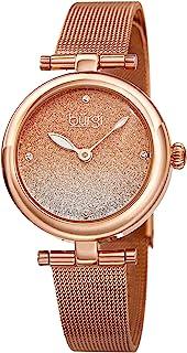 Burgi BUR231 设计师女式手表 – 不锈钢网眼表带 – 施华洛世奇水晶记号笔,闪光表盘 – 时尚手镯手表