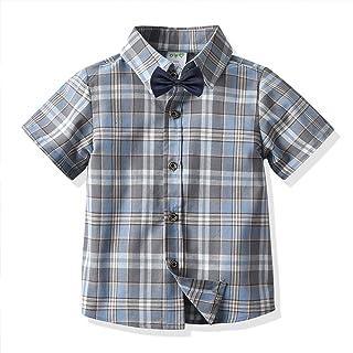 幼童男童夏威夷衬衫系扣短袖条纹格子印花蝴蝶结休闲上衣 T 恤